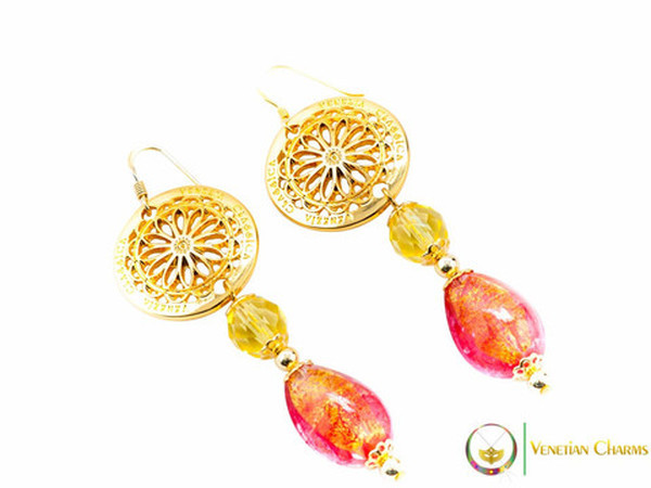 Levante Earrings - Gold and Red