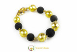 Luxury Glass and Lava Bracelet - Gold and Lava Stone