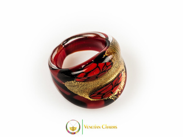 Murano Glass Ring 25mmx23mm, fixed band size - RED/GOLD/BLACK