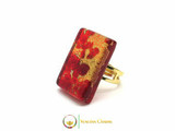 Murano Glass Ring 30x20mm - Red