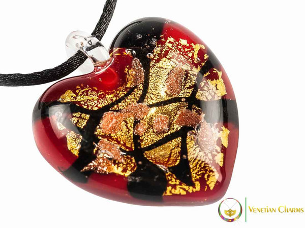 Passione Heart Pendant - Gold, Black and Red