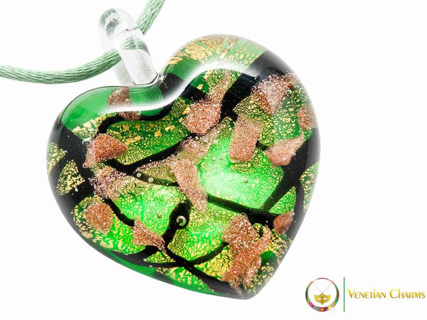 Passione Heart Pendant - Gold, Green and Black