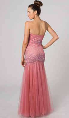 E408 DAZZLING FITTED STRAPLESS EVENING GOWN CORAL