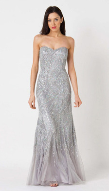 RC111 RED CARPET BEADED GLAM GOWN SILVER / MINT