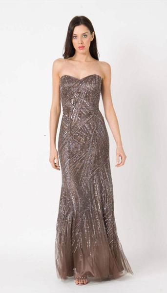 RC111 RED CARPET BEADED GLAM GOWN MOCHA