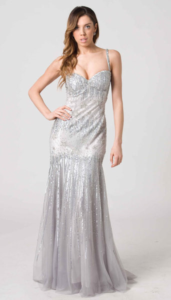 RC204 FITTED CHIC GLAMOUR GOWN SILVER