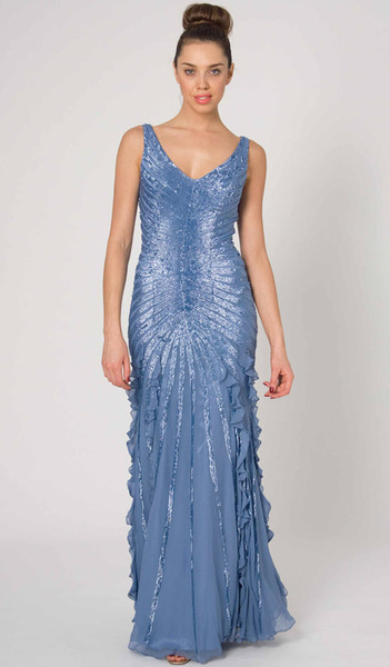 RC45 LUXURIOUS SHIMMERING ELEGANCE GOWN PEARL BLUE