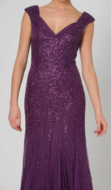 RC41 CLASSIC BEADED SILK GLAMOUR GOWN PLUM
