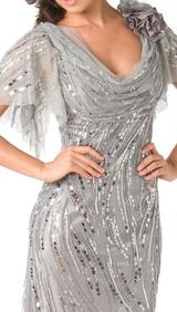M103 SMOOTH SHIMMERY GLAM EVENING GOWN SILVER