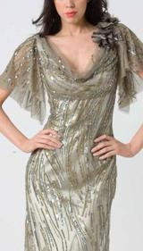 M103 SMOOTH SHIMMERY GLAM EVENING GOWN OLIVE