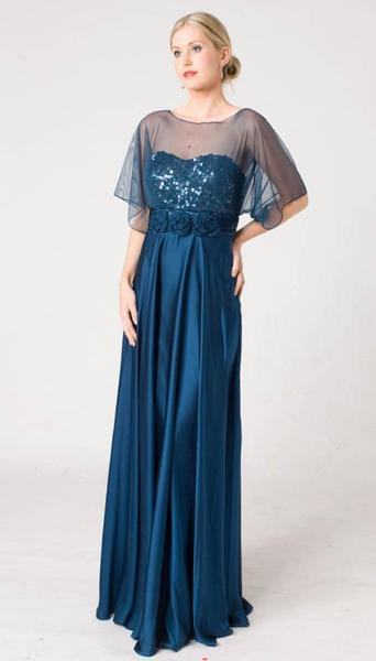 M104 UNIQUE ROMANTIC & SASSY EVENING GOWN BLUE