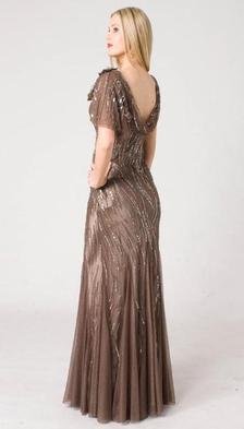 M103A SMOOTH SHIMMERY GLAM EVENING GOWN MOCHA