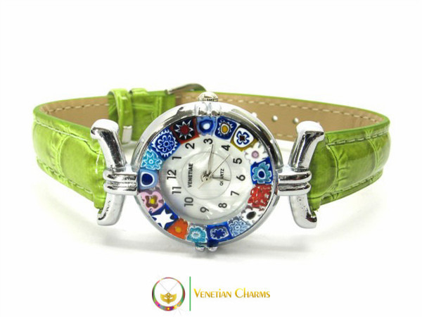 One Lady Chrome Murano Glass Watch - Clear Green