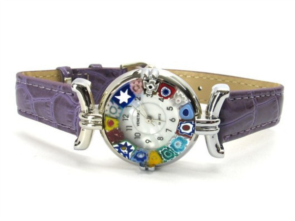 One Lady Chrome Murano Glass Watch - Violet