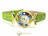 One Lady Gold Murano Glass Watch - Clear Green
