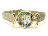 One Lady Gold Murano Glass Watch - Clear Grey