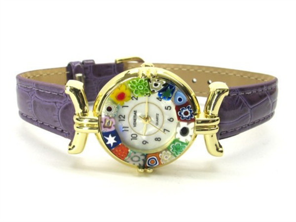 One Lady Gold Murano Glass Watch - Violet