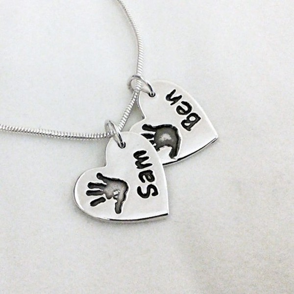 Double Handprint Silver Pendant - Chain Style Snake (1.6mm)