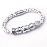 White Leather Bracelet, 5 Stainless Steel Beads, Magnetic Clasp, 20cm