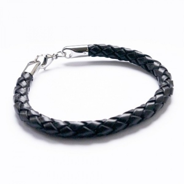Black Woven Leather Bracelet, Stainless Steel Lobster Clasp, 21cm