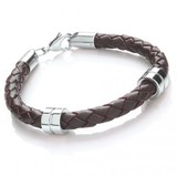 Brown Leather Bracelet, 2 Stainless Steel Bands, Lobster Catch, 21cm