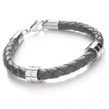 Grey Leather Bracelet, 2 Stainless Steel Bands, Lobster Catch, 21cm
