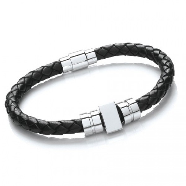 Black Leather Bracelet, 3 Stainless Steel Beads, Magnetic Pin Clasp, 21cm