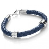 Blue Leather Bracelet, 2 Stainless Steel Bands, Lobster Catch, 21cm